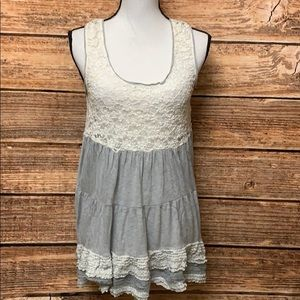 Mystree Gray & White Tunic With Lace